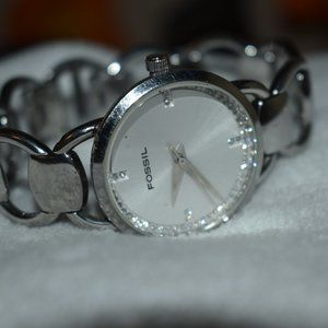 Vintage Fossil Cuff Bracelet Watch Bedazzled Face